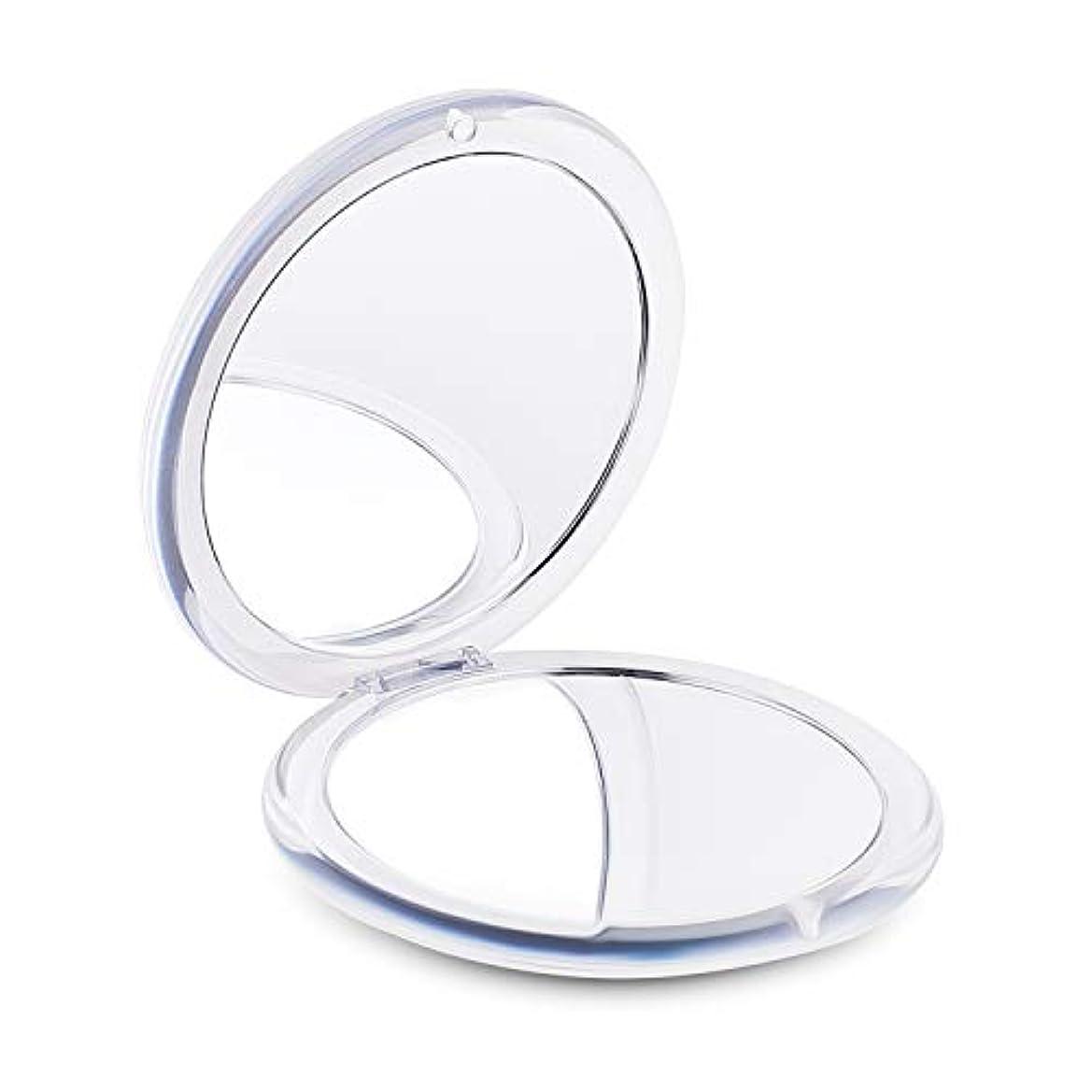 まだどこにでもたるみコンパクトミラー 手鏡 拡大鏡 化粧鏡 折りたたみミラー 携帯ミラー ハンドミラー 女優ミラー コンパクト鏡 メイクミラー 180度回転 折り畳み式両面化粧鏡 5倍拡大鏡 持ち運び便利(丸め)