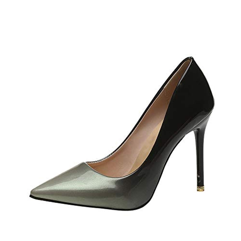 レディース ハイヒール Tongdaxinxi 女性ファッション グラデーションカラーのパテントレザー 靴先のとがったつま先 ハイヒールの靴 ファッション靴 フラットシューズ レディース靴 レディース サンダル