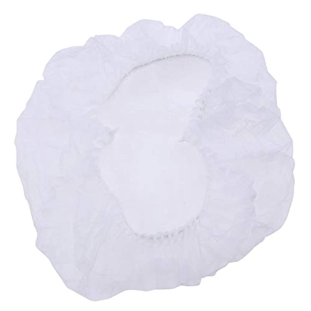 湿地囲まれた蒸発Healifty 100個使い捨てのふわふわキャップ医療サービス食品焼き化粧用白髪ヘッドカバーネット(白)