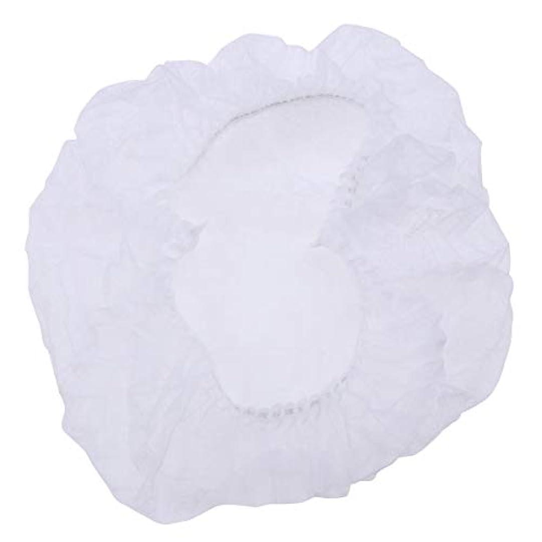 縁石罹患率蒸し器Healifty 100個使い捨てのふわふわキャップ医療サービス食品焼き化粧用白髪ヘッドカバーネット(白)