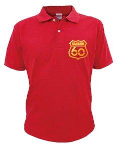 還暦祝い プレゼント 赤い 【赤ポロシャツ】【ルート60ゴールド】【XL】/A15/