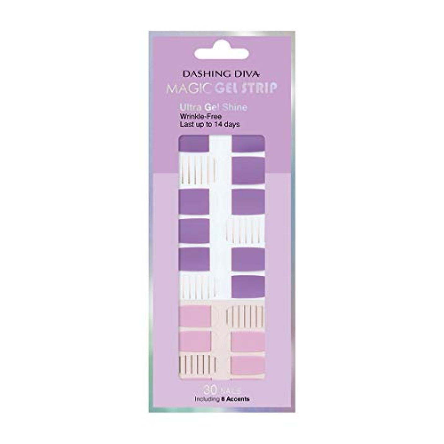 決定薄い薬を飲むダッシングディバ マジックジェルストリップ DASHING DIVA Magic Gel Strip DGST83-DURY+ オリジナルジェル ネイルシール Purple Stripe