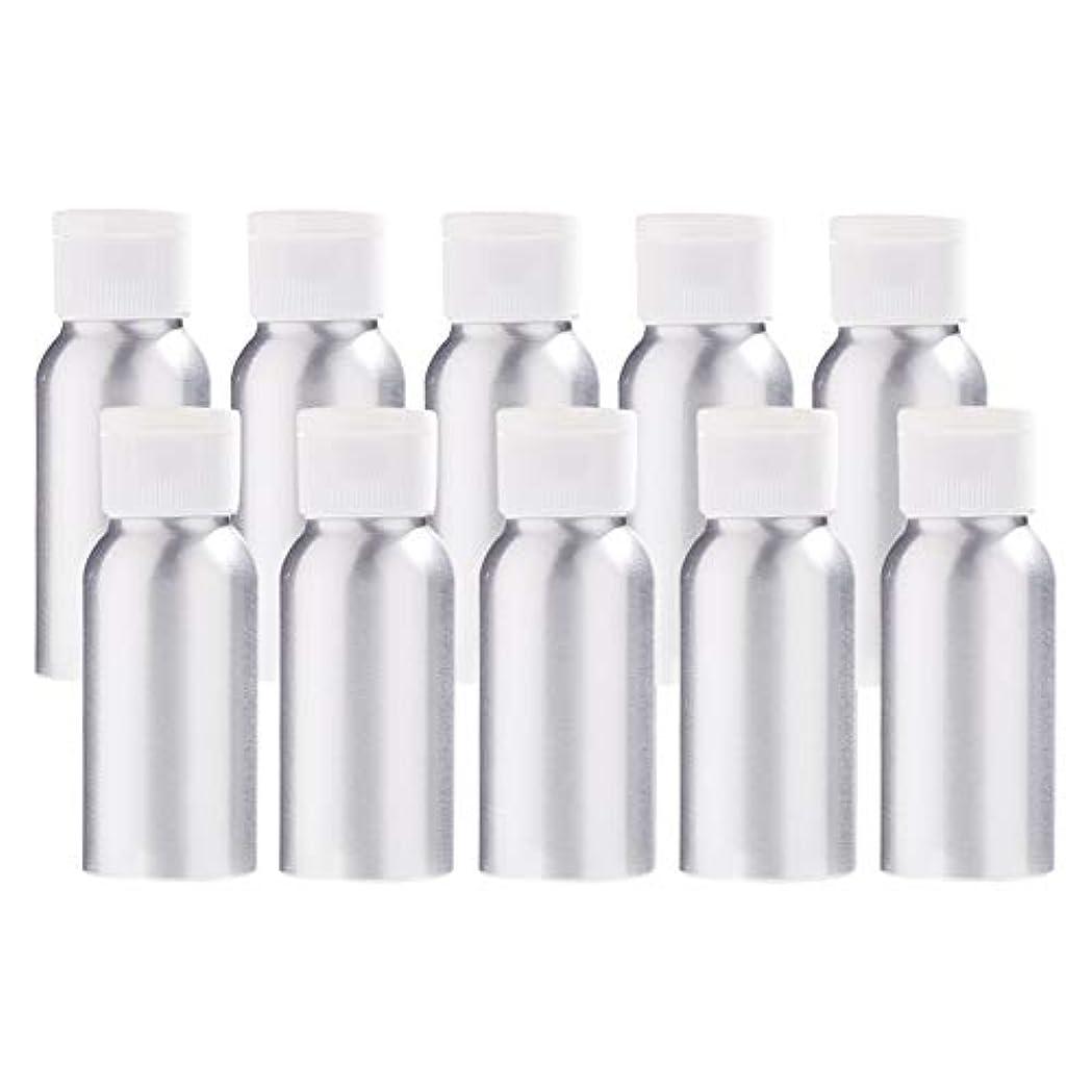 ダイジェスト省潜水艦BENECREAT 10個セット50mlアルミボトル フリップカバー空瓶 防錆 遮光 軽量 化粧品 アロマ 小分け 詰め替え 白いプラスチック蓋