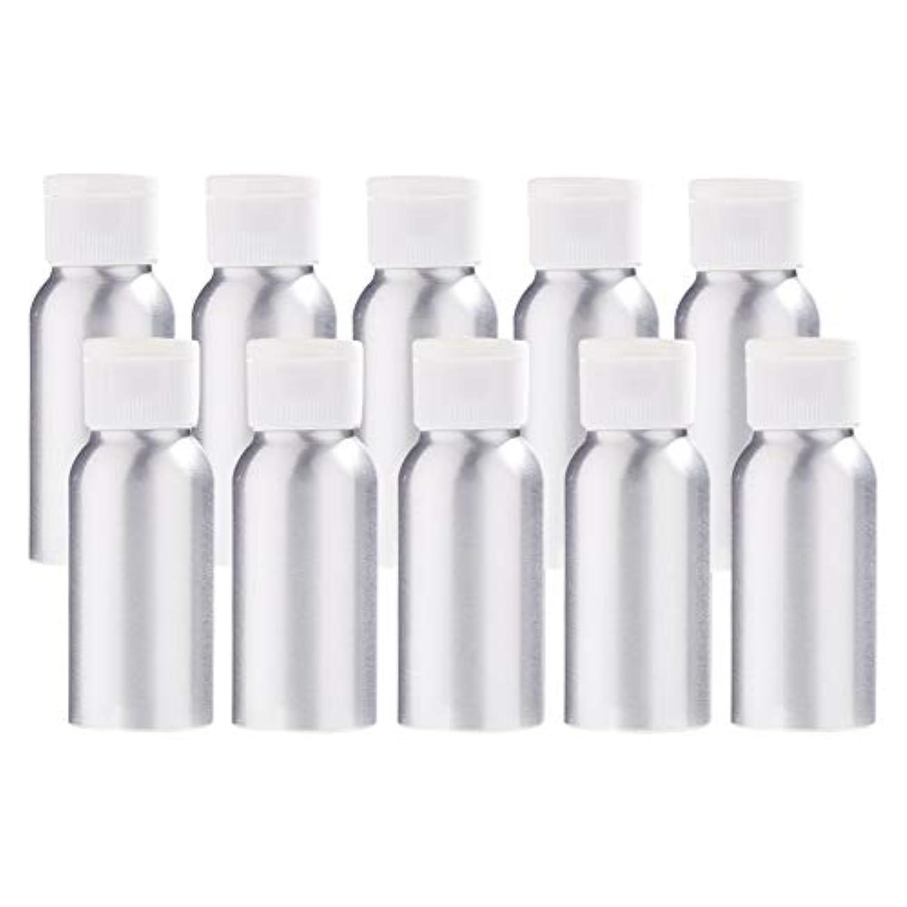タオル処方みBENECREAT 10個セット50mlアルミボトル フリップカバー空瓶 防錆 遮光 軽量 化粧品 アロマ 小分け 詰め替え 白いプラスチック蓋