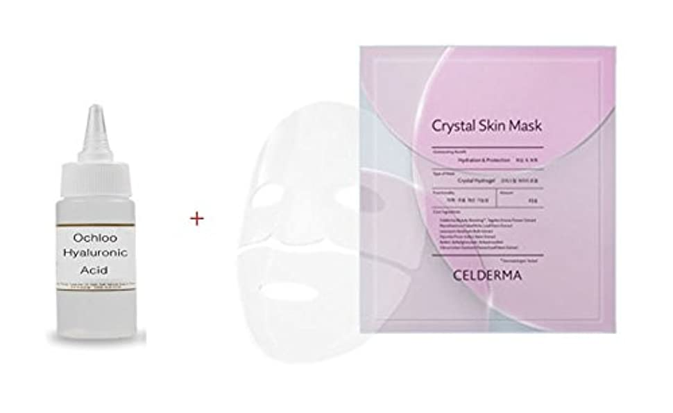 ハーフ最大限以来CELDERMA Crystal Skin Mask: Pretty Transparent Hydrogel Pack Tightly fitted perfectly like my skin (23gx 5) 素敵な透明性のヒドロゲルパックが私の肌のようにぴったりフィットします(23gx 5) + Ochloo Hyaluronic Acid 10ml