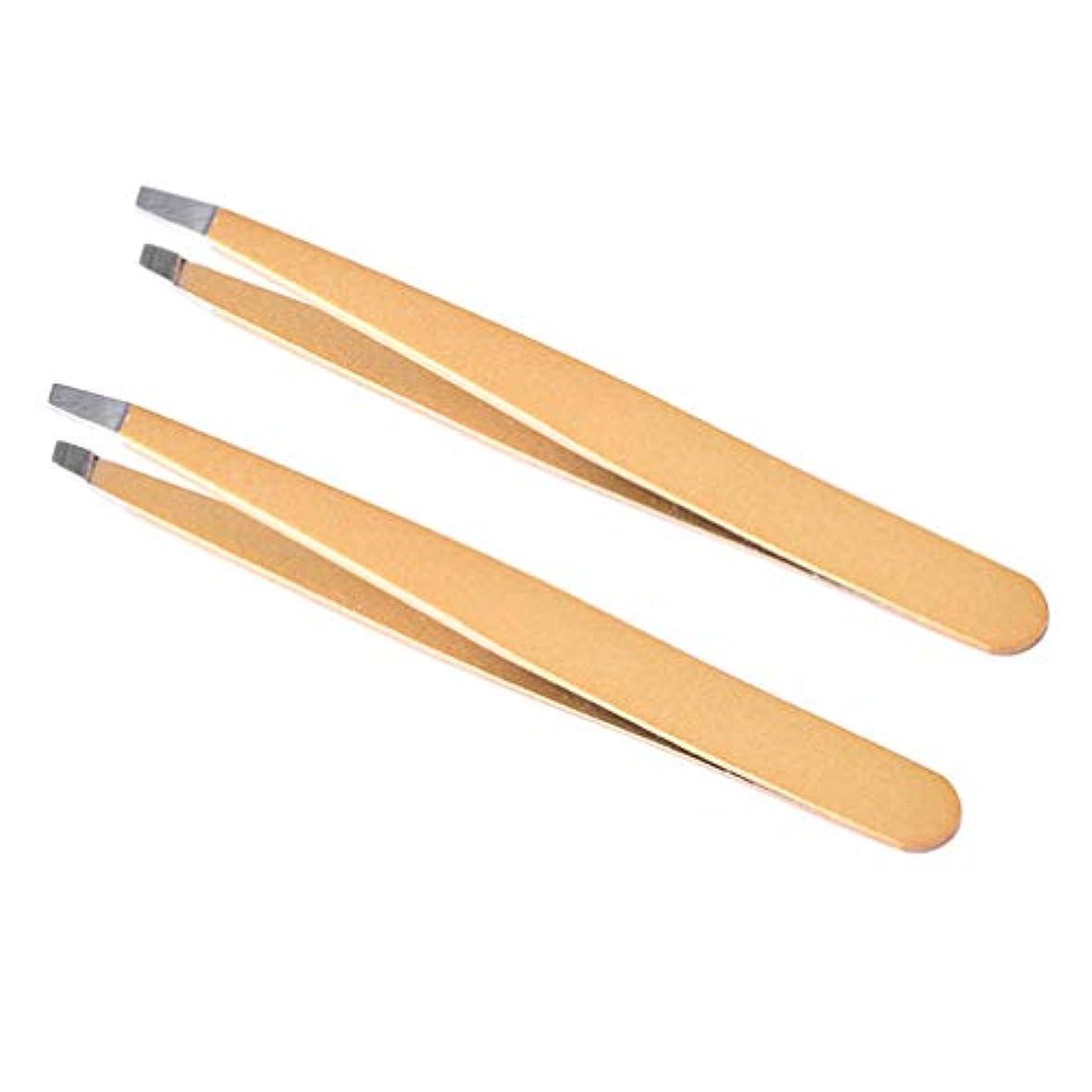 相談するダッシュライムLurrose 男性の女性のための傾斜した先端を持つ2本のステンレス製の眉毛ピンセット