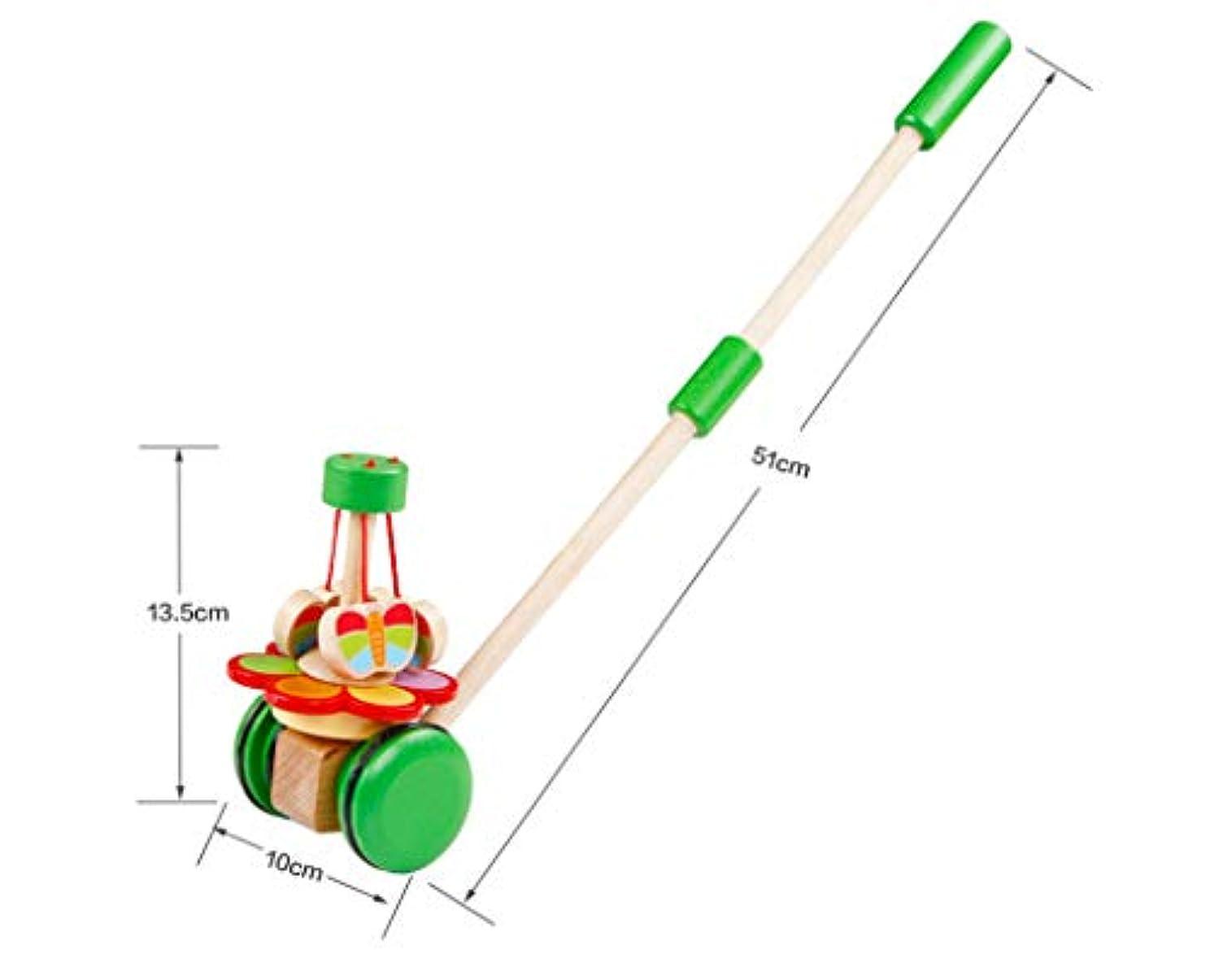 寮布断片1-2-3歳の幼児をキュートなおもちゃをドラッグする子供のトロリー木製パズル赤ちゃんのシングルレバープッシュとプルは安全な相互作用を再生するには,グリーン