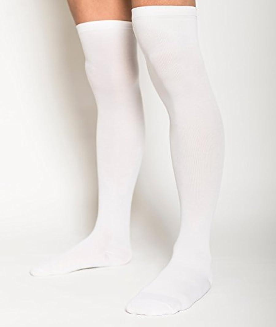 粘土飼料プレビスサイト男性専用 むくみ対策 メンズ着圧ソックス (ニーハイソックス/つま先までタイプ(ホワイト))
