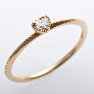 K10イエローゴールド 天然ダイヤリング 指輪 ダイヤ0.05ct 9.5号 アンティーク調 プリン