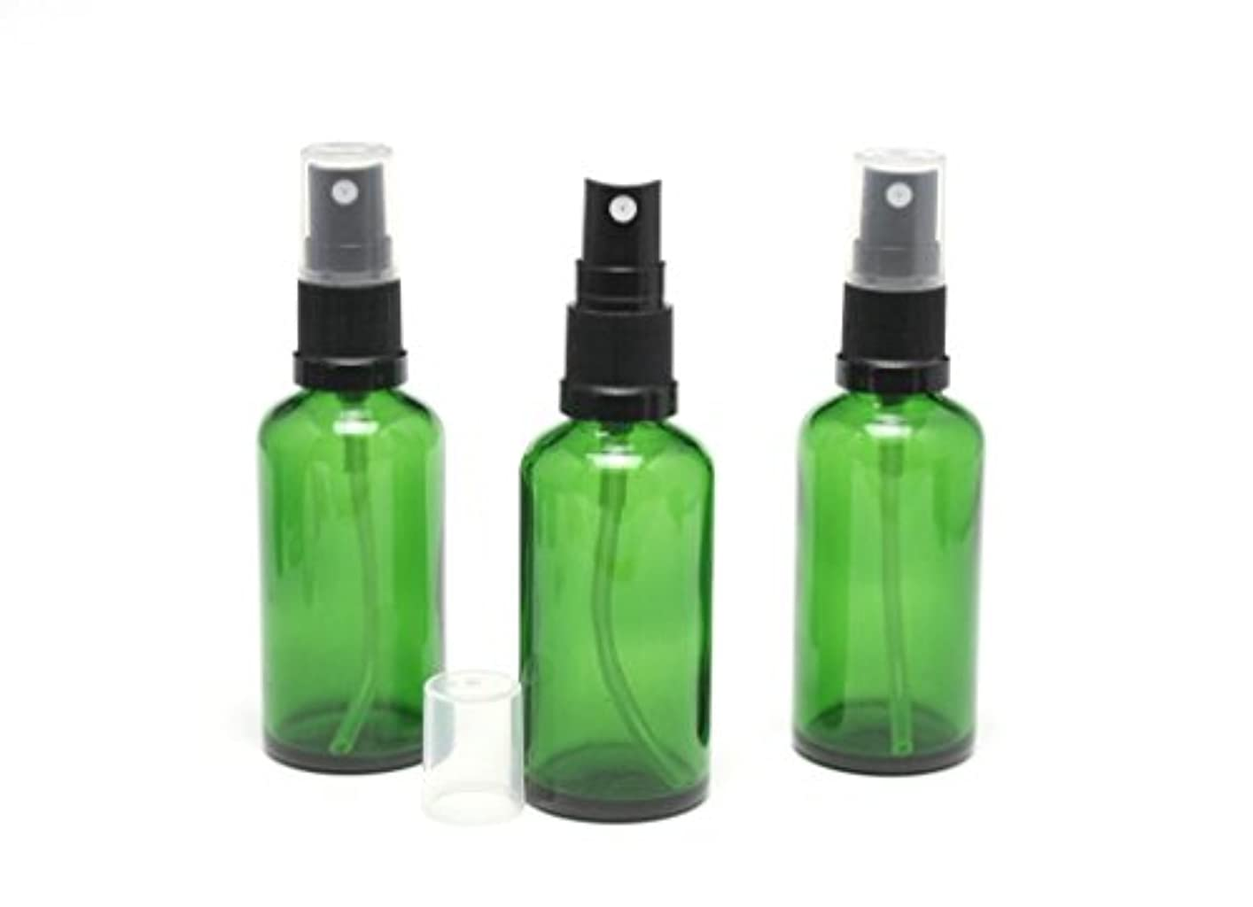 私たち自身ファンタジー間遮光瓶 スプレーボトル (グラス/アトマイザー) 50ml グリーン/ブラックヘッド 3本セット 【 新品アウトレットセール 】