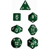CHESSEX TRPGダイス/サイコロ Opaque Polyhedral(多面体) Green w/white 7個セット
