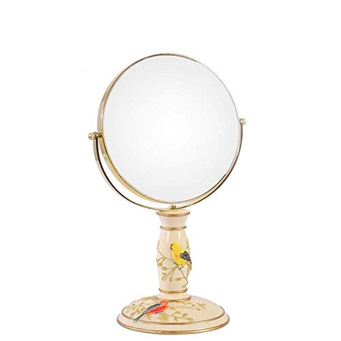 誓約カラス共和国流行の ビンテージ化粧鏡、鏡360°回転スタンド、倍率1倍、3倍、ラウンドダブル両面回転化粧鏡