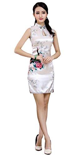 Black Omen (ブラックオーメン) 光沢あり 孔雀 プリント ノースリーブ 胸元オープン ショート丈 チャイナ ドレス(レディース、女性用)印刷 模様 膝上 ミニ 袖なし パーティー カラー ワンピース スリット ワンピ ドレス チャイナ服(白色(ホワイト)、S)op41/wh/s