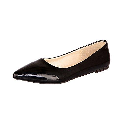 (オチェーンタ)レディース メンズ 男女兼用 エナメル 多きいサイズ フラット ポインテッドトゥ パンプス ローヒール 靴 ブラック 48