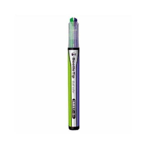 コクヨ 2色蛍光マーカービートルティップデュアルカラー緑紫 【 3本】