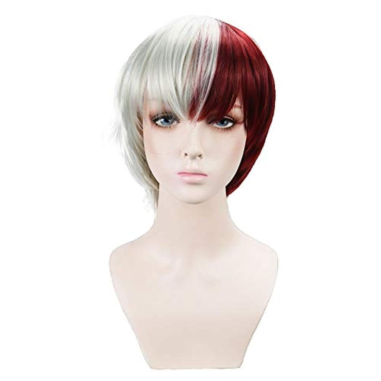 感動する驚不信アニメ赤と白の2色人工毛パーティーロールプレイかつらマット高温シルク反反りウィッグパーティーハロウィンコスチュームパーティー