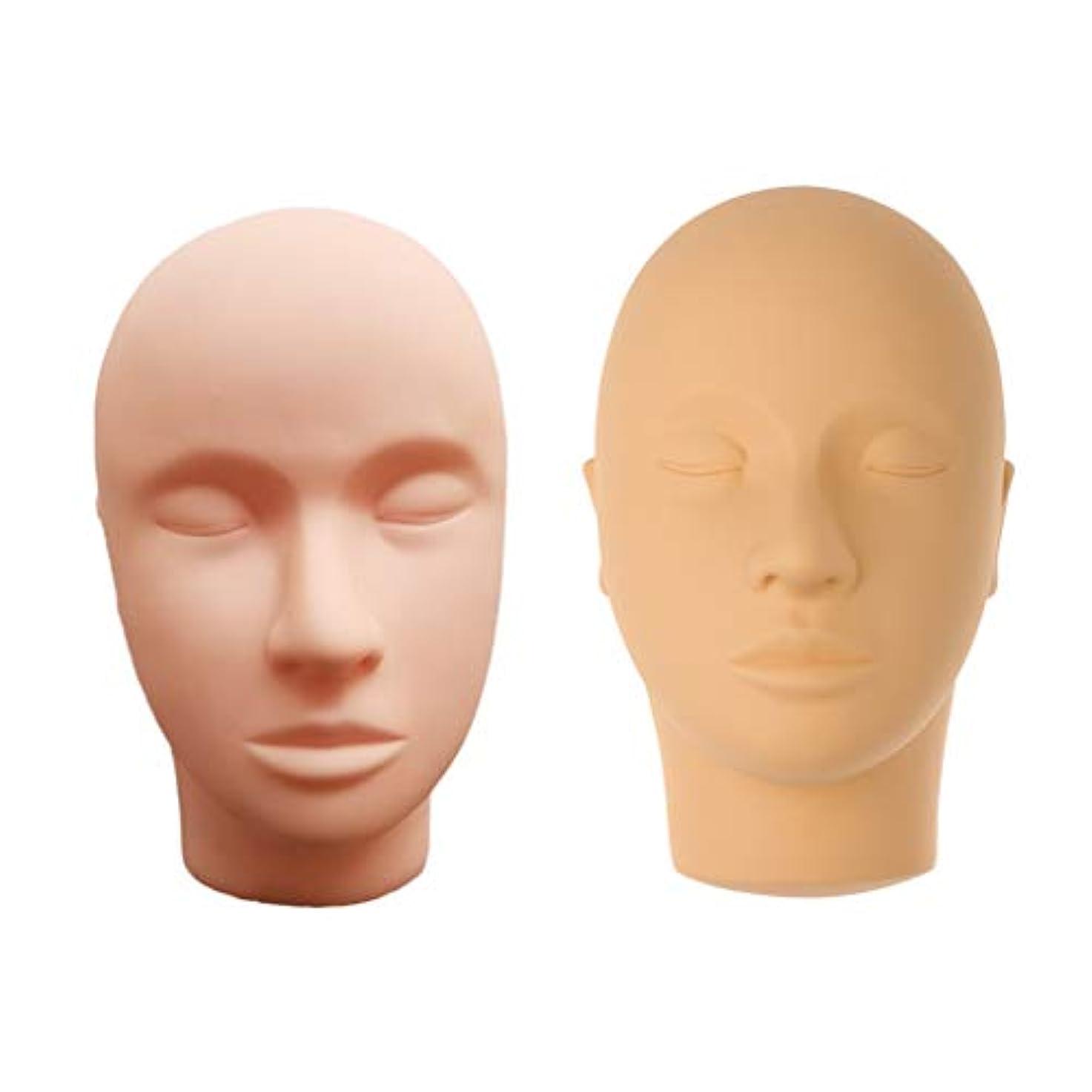 衣服現実同行するマネキンヘッド ディスプレイ 肌色 化粧練習 メイク マッサージ トレーニング 繰り返し利用