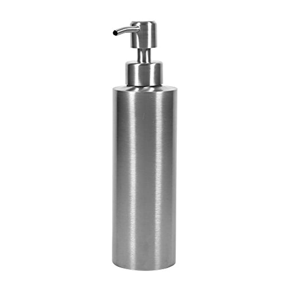 エンジニアリングペインティング性差別304 ステンレス鋼 シンクソープディスペンサー シンク ソープ シャンプー用ディスペンサー 350ml 石鹸液 ハンドソープ 洗剤 メタル ボトル ポンプ付き キッチン、トイレに適用