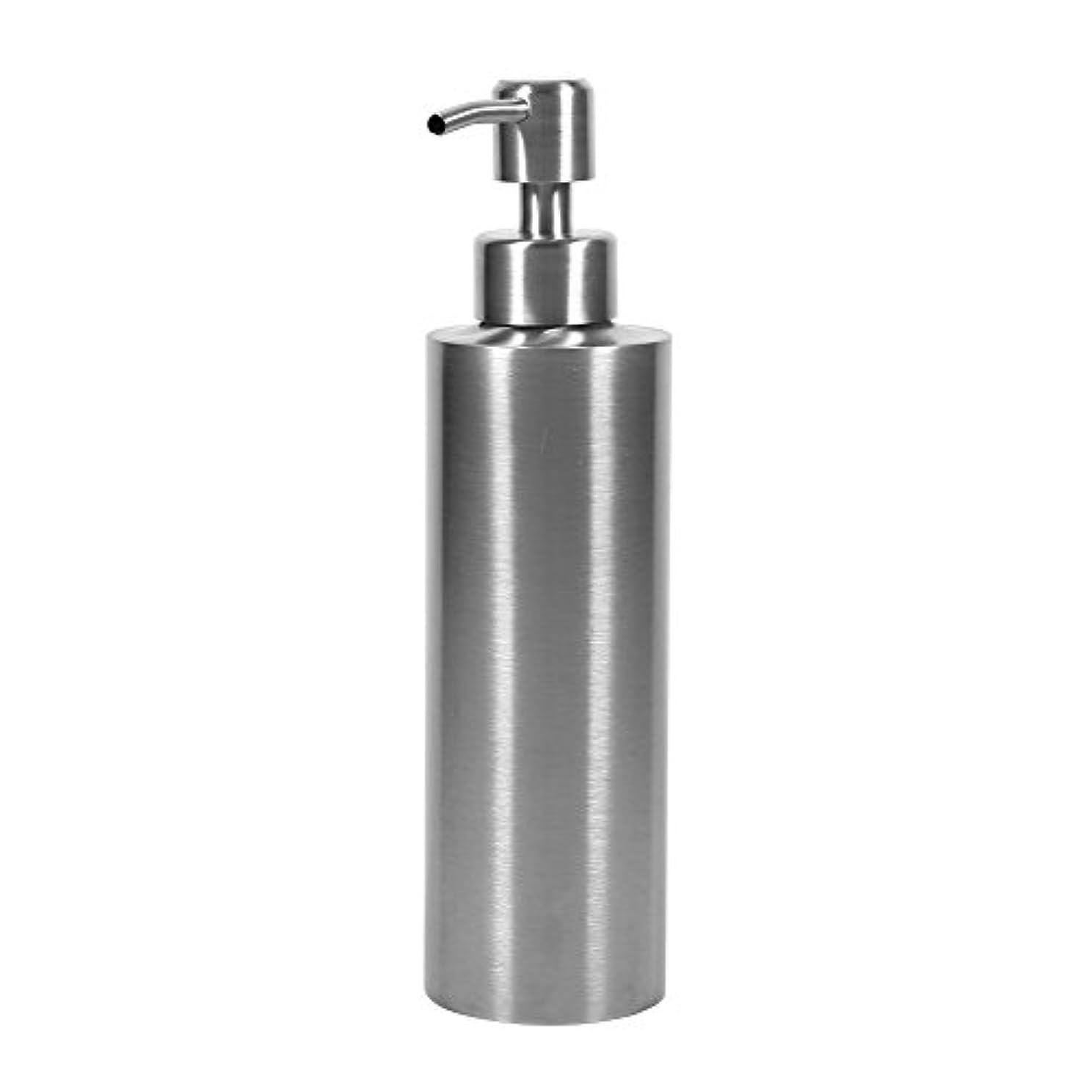 椅子期限州304 ステンレス鋼 シンクソープディスペンサー シンク ソープ シャンプー用ディスペンサー 350ml 石鹸液 ハンドソープ 洗剤 メタル ボトル ポンプ付き キッチン、トイレに適用