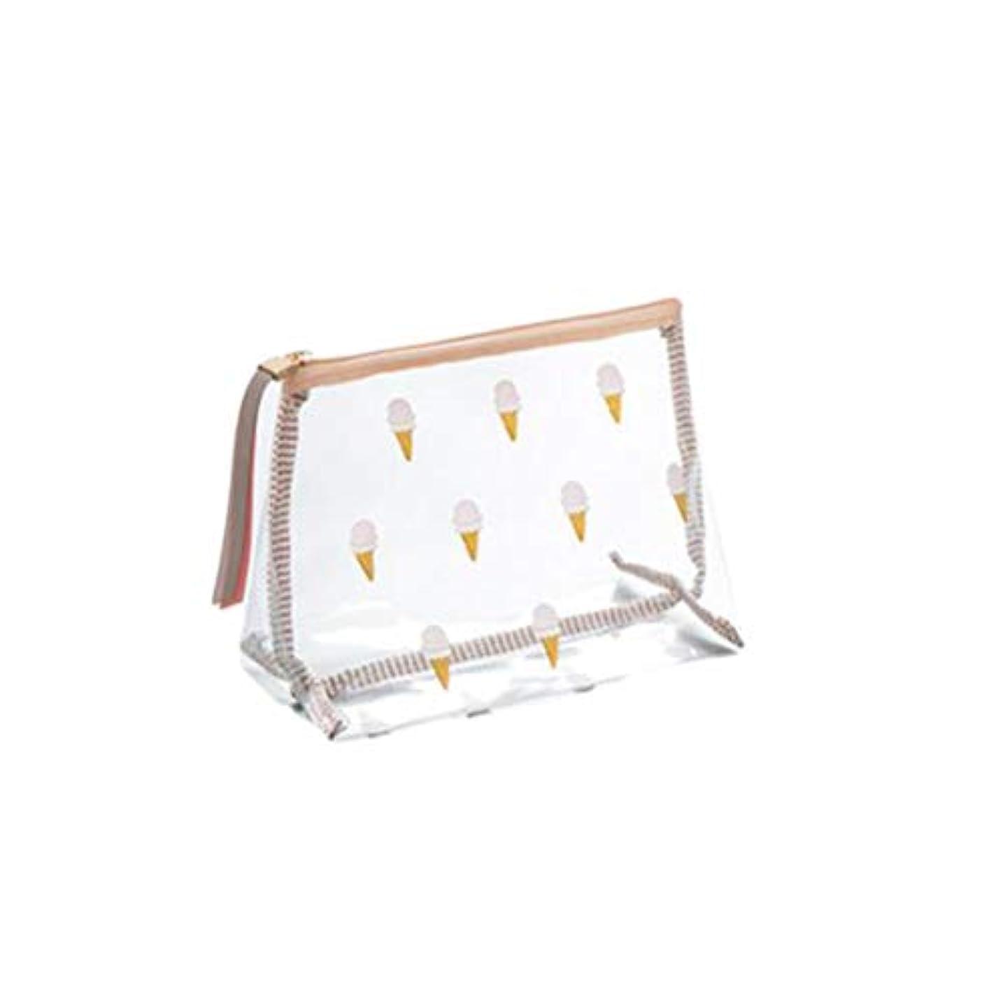 Frcolor 化粧ポーチ トラベルポーチ メイクポーチ アイスクリーム柄 かわいい 化粧小物収納ポーチ コンパクト 旅行用 透明(サイズS)