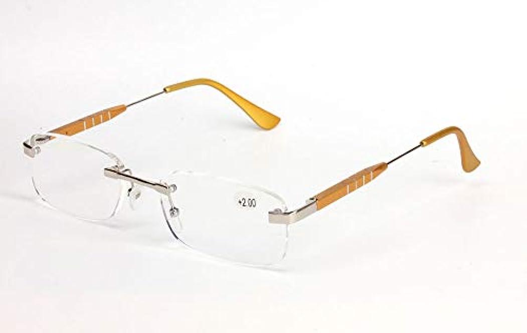 FidgetGear アルミフレームレス+1.0?+3.5軽量老眼鏡リーダークリアレンズ ゴールデン
