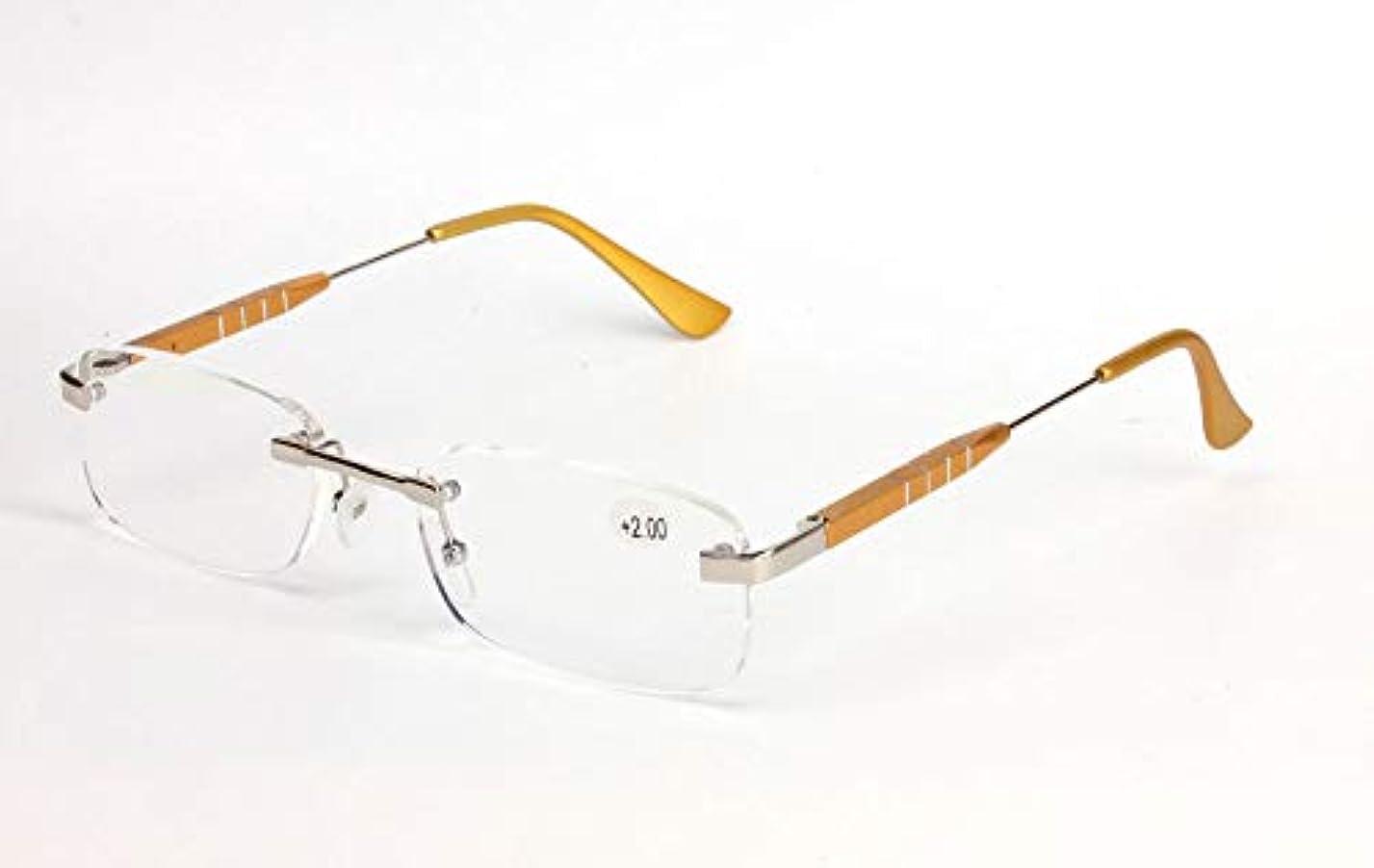 スキニーアクロバット歩道FidgetGear アルミフレームレス+1.0?+3.5軽量老眼鏡リーダークリアレンズ ゴールデン