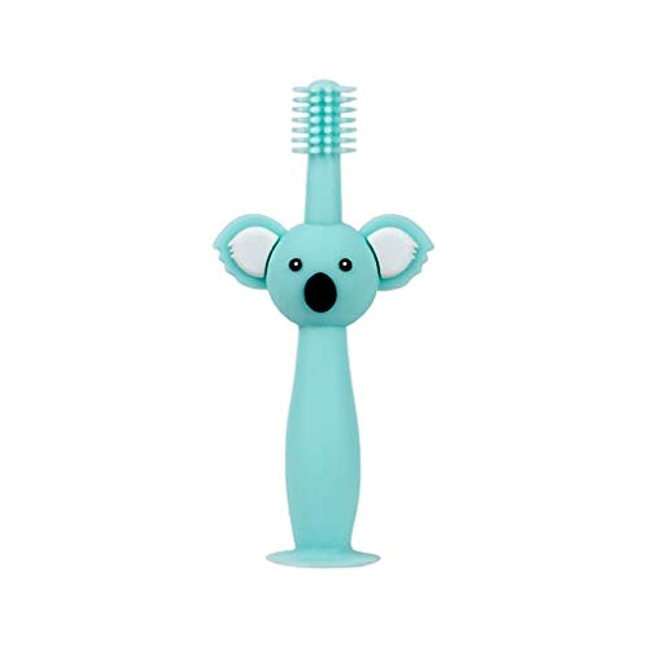 適応的野望不変Biuuu 360°赤ちゃん歯ブラシコアラ頭ハンドル幼児ブラッシング歯トレーニング安全なデザインソフト健康シリコーン幼児口腔ケア (グリーン)
