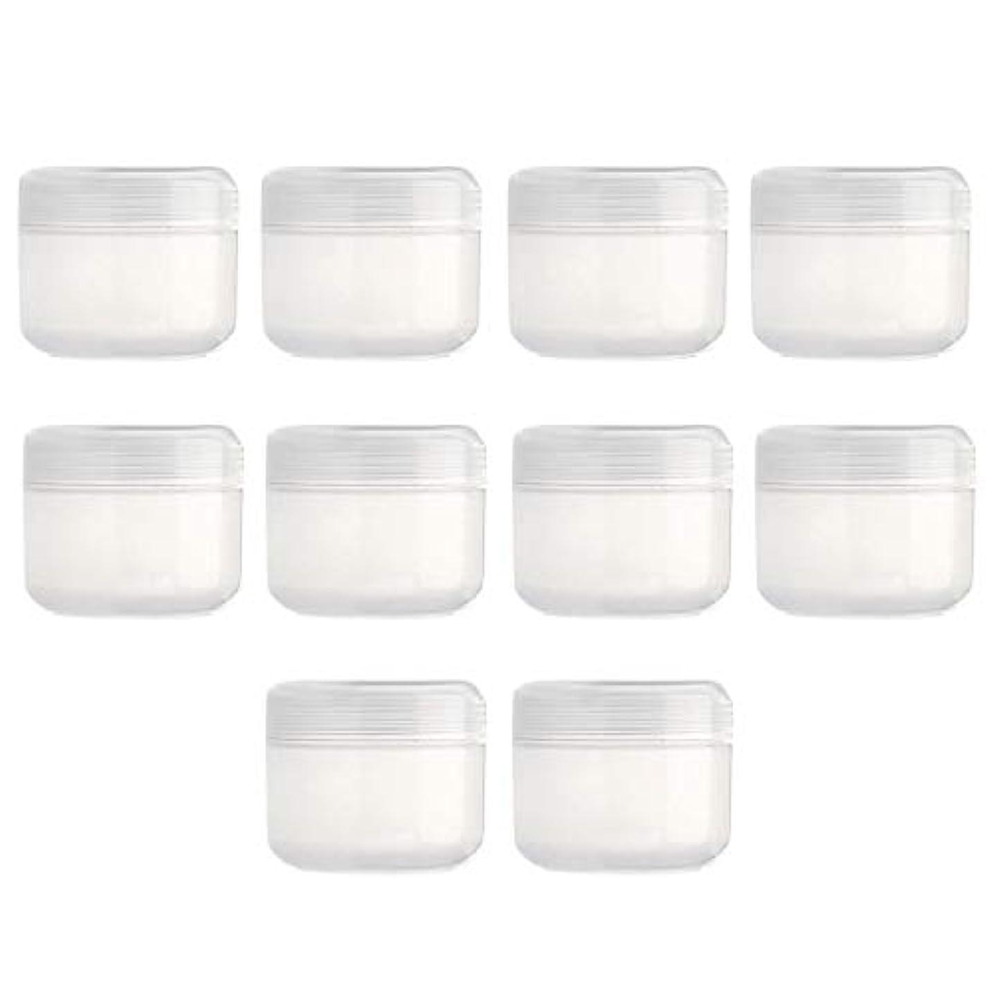 勤勉な天のヶ月目DYNWAVE 10個入り 空のボトル 旅行用 空のクリーム容器 詰替え容器 クリームボトル 化粧品容器 全15色 - クリア50g