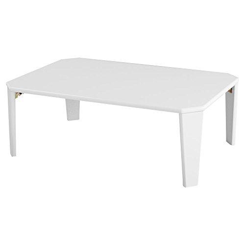 折りたたみ テーブル ローテーブル センターテーブル 鏡面 座卓 ちゃぶ台 デスク 幅90cm ホワイト 新生活