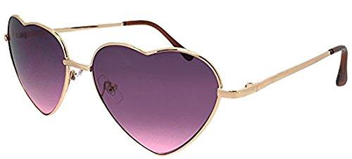 (PAGEBOY) パーティグッズ サングラス py2602 3 ゴールド / パープル・ピンク レディース ハート型 UVカット 紫外線対策 メタル 女性用