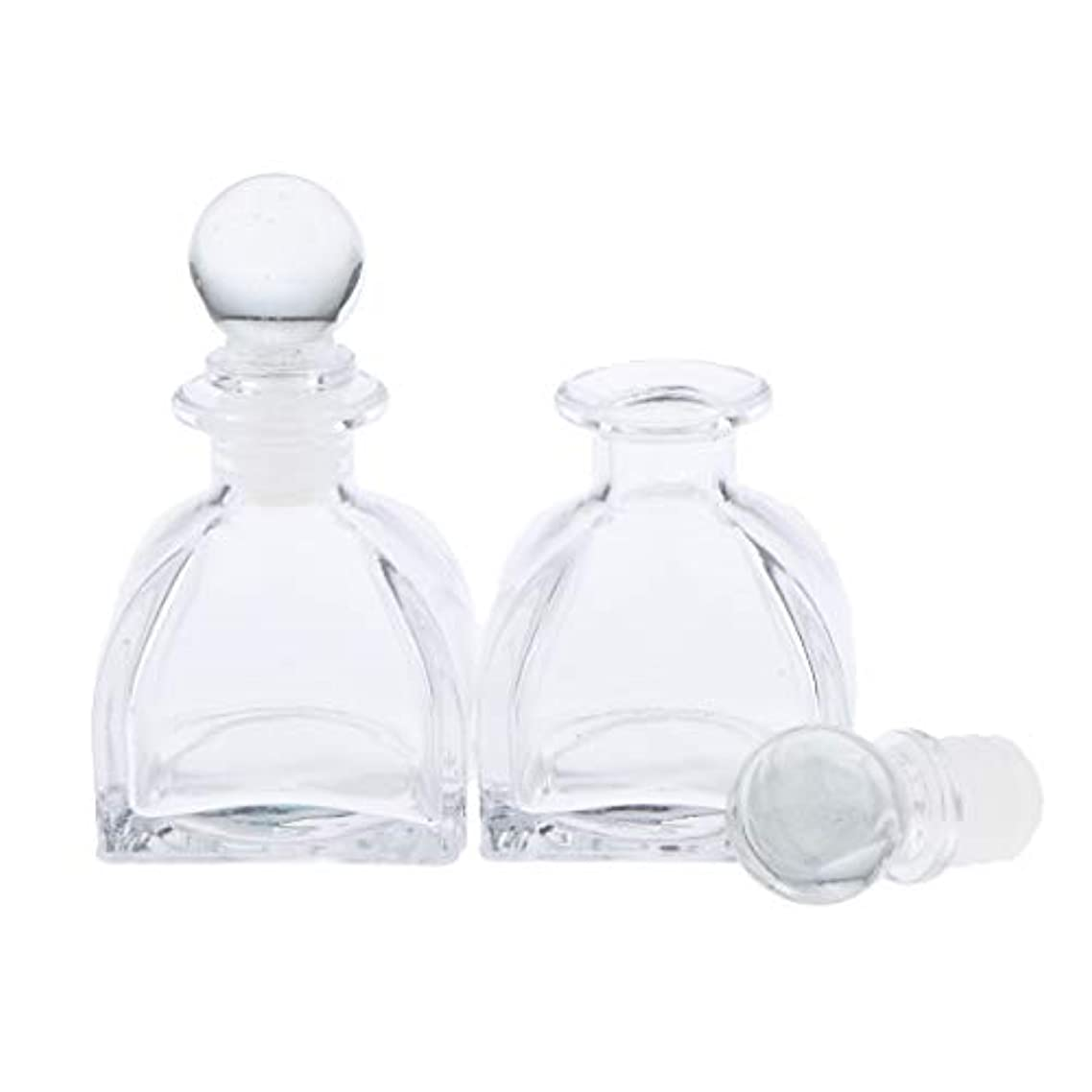 書き出す麻痺ハウスPerfeclan 2個 全3サイズ 香水ディフューザーボトル ガラスボトル 透明 ローション 化粧品適用 DIY 交換 - 50ミリリットル