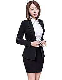 c7dbc95baf9bc Yijinxiu フォーマルスーツ レディース 黒 スカートスーツ おしゃれ 結婚式 卒業 ...