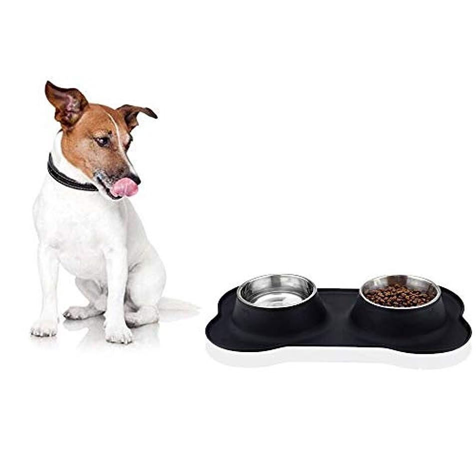 方朝日スポーツ用品店 ペットのシリコンボーンボウルステンレス鋼の犬のポットペットドリンクの水を食べる食品二重使用ボウル (色 : 黒)
