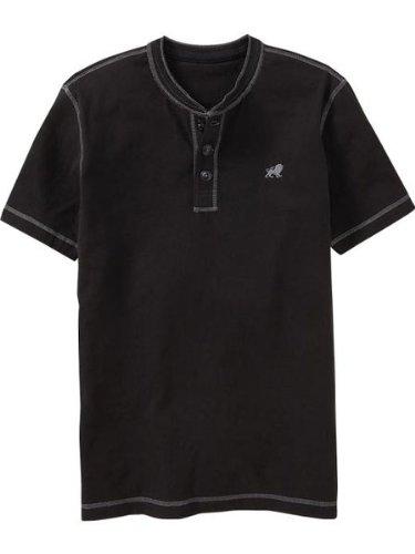 メンズ ヘンリー 半袖 Tシャツ [ブラック] 並行輸入品 オールドネイビー