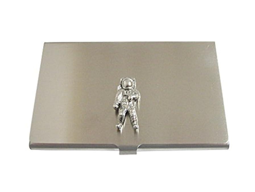 ミケランジェロ広げるヒューバートハドソンSilver Toned Textured space astronautビジネスカードホルダー