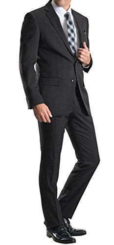 2ツボタンスーツ メンズ スリム ウォッシャブルパンツ 防シワ ビジネススーツ 3:ブラックピンチェックZ721-2401M-3-A4
