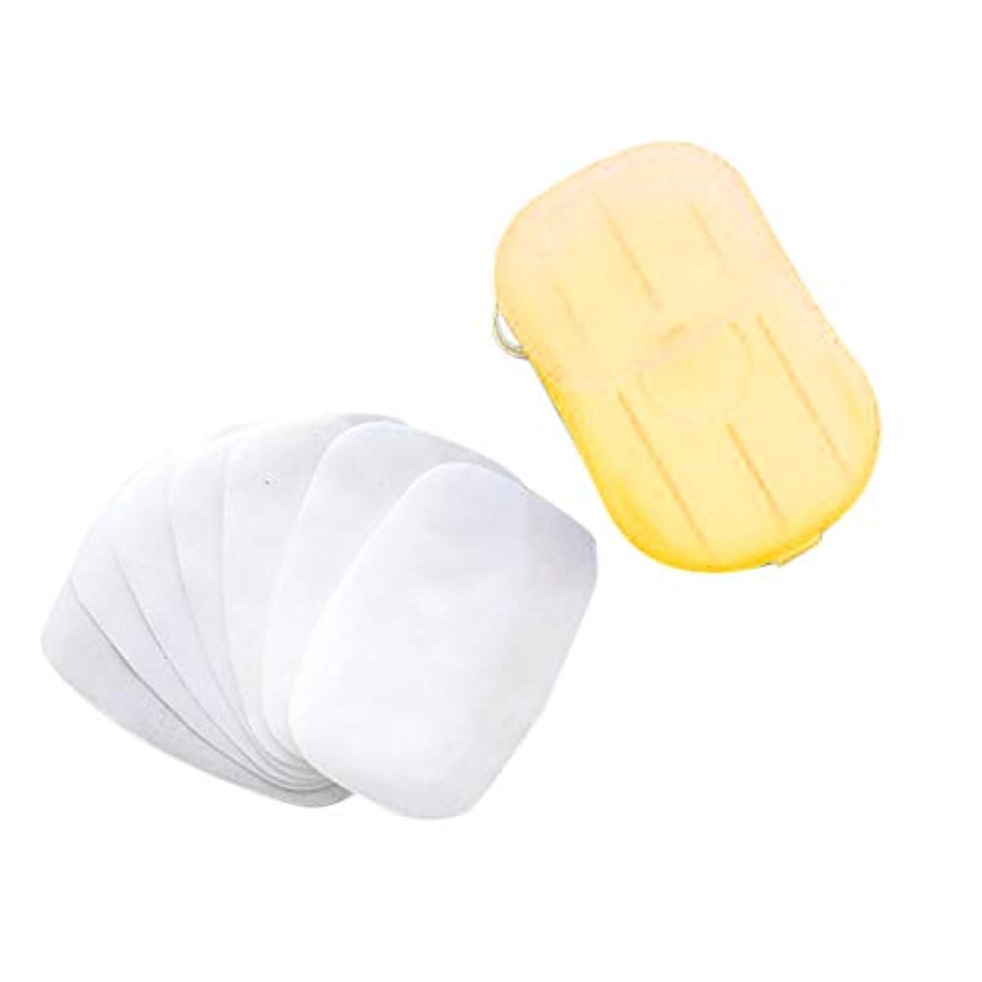 ばかチューインガムオープニングKayaki ペーパーソープ 除菌 香り 石鹸 手洗い お風呂 旅行携帯用 紙せっけん 20枚入 ケース付き カラーランダム タブレットトラベルキャリートイレットペーパー 使い捨て石鹸ペーパーウォッシュ (イエロー)
