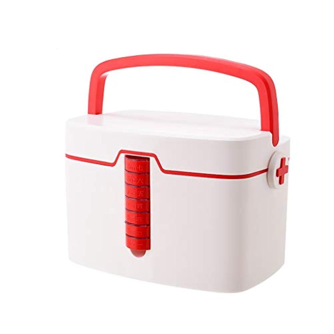 少ない共和党受粉するXuping shop 毎週のピルオーガナイザー、応急処置ケース緊急キットボックス、収納ピルコンテナボックス付き医療用チェスト収納ボックス