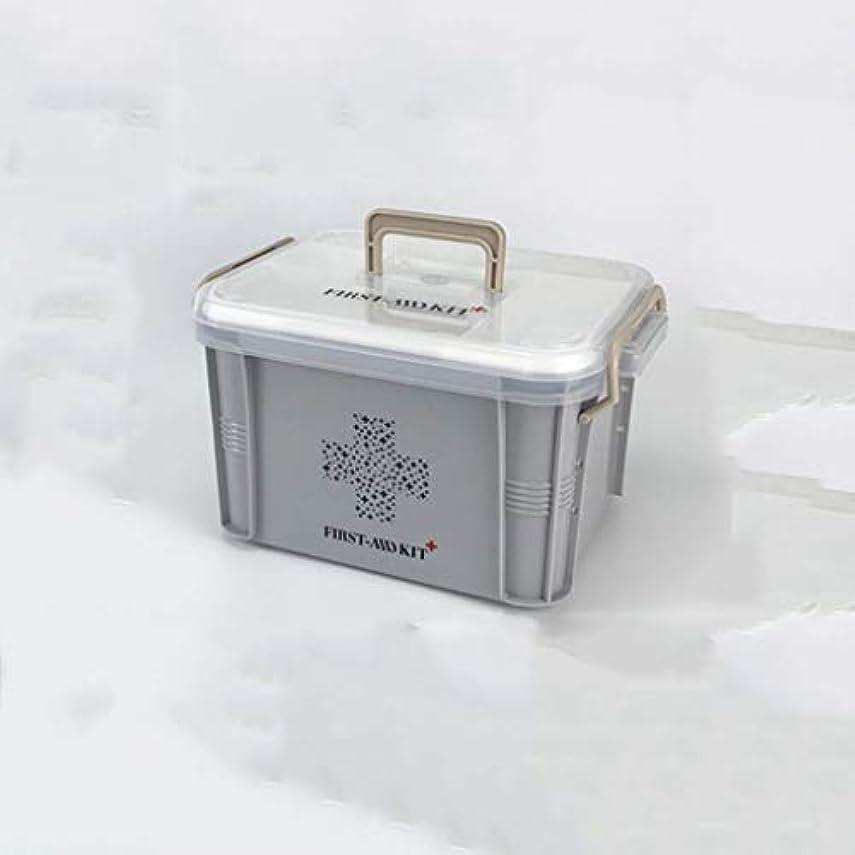地殻憂鬱な裸家庭用二層薬箱薬収納箱家族救急箱2サイズオプション Annacboy (Color : Gray, Size : 26.5×18.5×14.5cm)