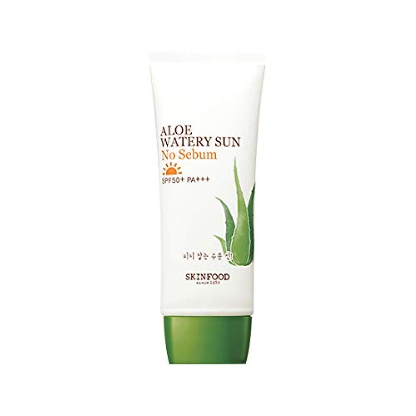解釈的ハンディ最大Skinfood アロエ水っぽい太陽なし皮脂SPF50 + PA +++ / Aloe Watery Sun No Sebum SPF50+ PA+++ 50ml [並行輸入品]