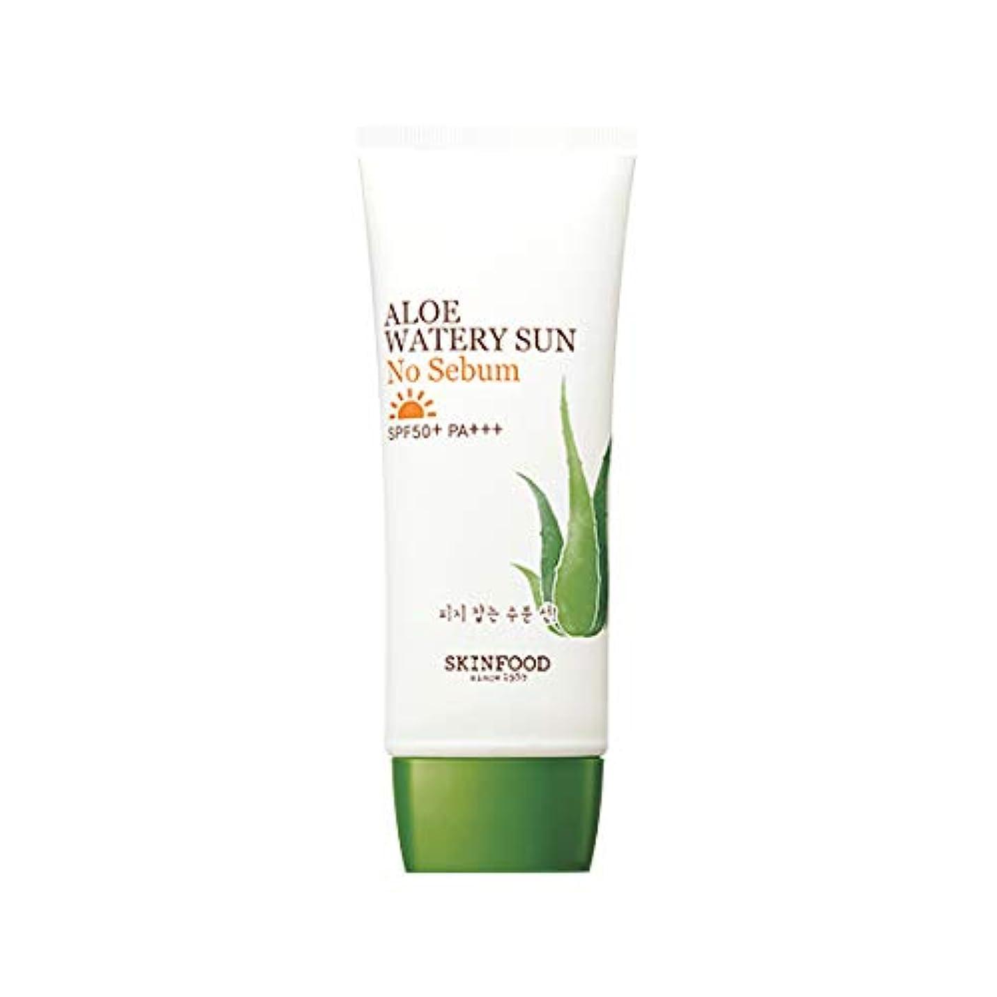 喜劇規則性請求Skinfood アロエ水っぽい太陽なし皮脂SPF50 + PA +++ / Aloe Watery Sun No Sebum SPF50+ PA+++ 50ml [並行輸入品]