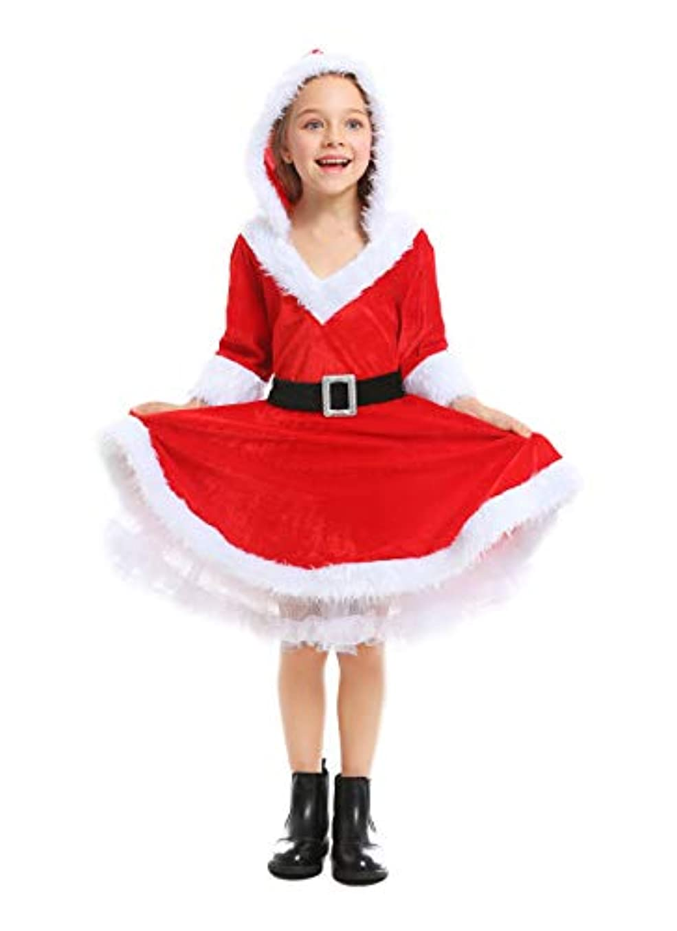 スーツインスタンスどこかS&C Live クリスマス コスプレ クリスマスワンピース キッズ 子供 女の子 帽子付 ベルト付 長袖 ふわふわ もこもこ クリスマス サンタコスプレ サンタ衣装 サンタコスチューム サンタクロース衣装 子供 女の子 サンタクロースコスチューム サンタクロースコスプレ クリスマスサンタコス衣装 Xmasコス#190196 (L)