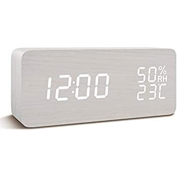 FIBISONIC 目覚し時計 置き時計 ギフト包装木製 デジタル LED 大音量 アラーム カレンダー付 気温 湿度 音声感知 USB/乾電池給電 ウッド ナチュラル風(ホワイト)