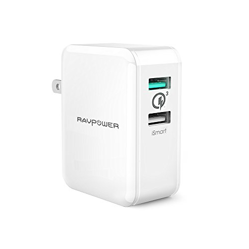 RAVPower Quick Charge 3.0 急速充電器 [30W/2ポート/USB充電/急速] Galaxy S8/S8+/S7/Edge/Xperia/Nexus 6/iPhone/iPad 等対応 ホワイト