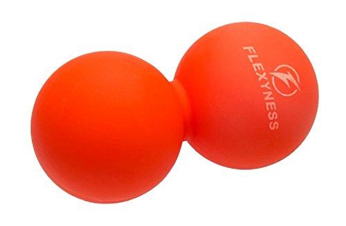 パワーストレッチ ボール ストレートネック スマホ病 2色 PCやり過ぎ つらい腰痛 肩こり 足裏マッサージに (オレンジ)