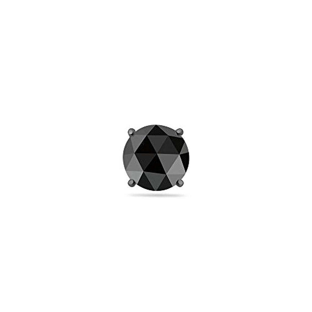 ソロ楕円形メダリストクリスマスDeal on 0.58 – 0.30 CTSの3.00 – 4.40 MM AAAラウンドRosecutブラックダイヤモンドメンズスタッドイヤリングで14 KホワイトBlackenedゴールド
