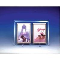 クリスタルフォトフレーム/写真立て L版ペア 〔L版対応〕 127×89mm クリスタルガラス使用 日本製