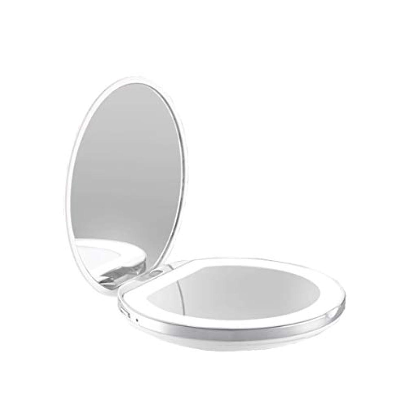 庭園土契約した手鏡 両面鏡 ライト付きミラー 女優ミラー 3倍拡大鏡付き お姫様 ミラー おしゃれ 卓上 LEDライト 化粧鏡 コンパクト 折り畳み式 スタンドミラー 角度調整