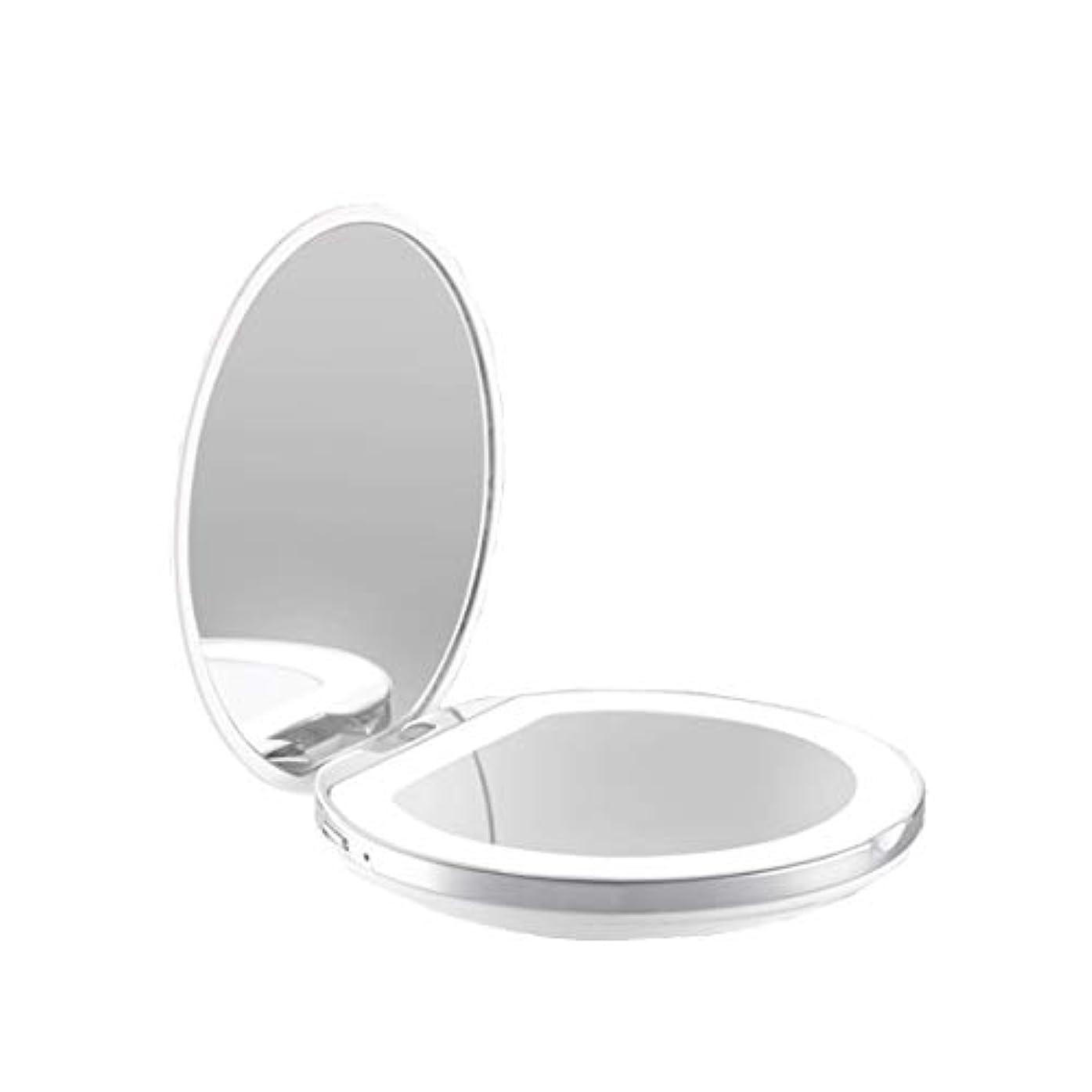目的移住する空洞手鏡 両面鏡 ライト付きミラー 女優ミラー 3倍拡大鏡付き お姫様 ミラー おしゃれ 卓上 LEDライト 化粧鏡 コンパクト 折り畳み式 スタンドミラー 角度調整