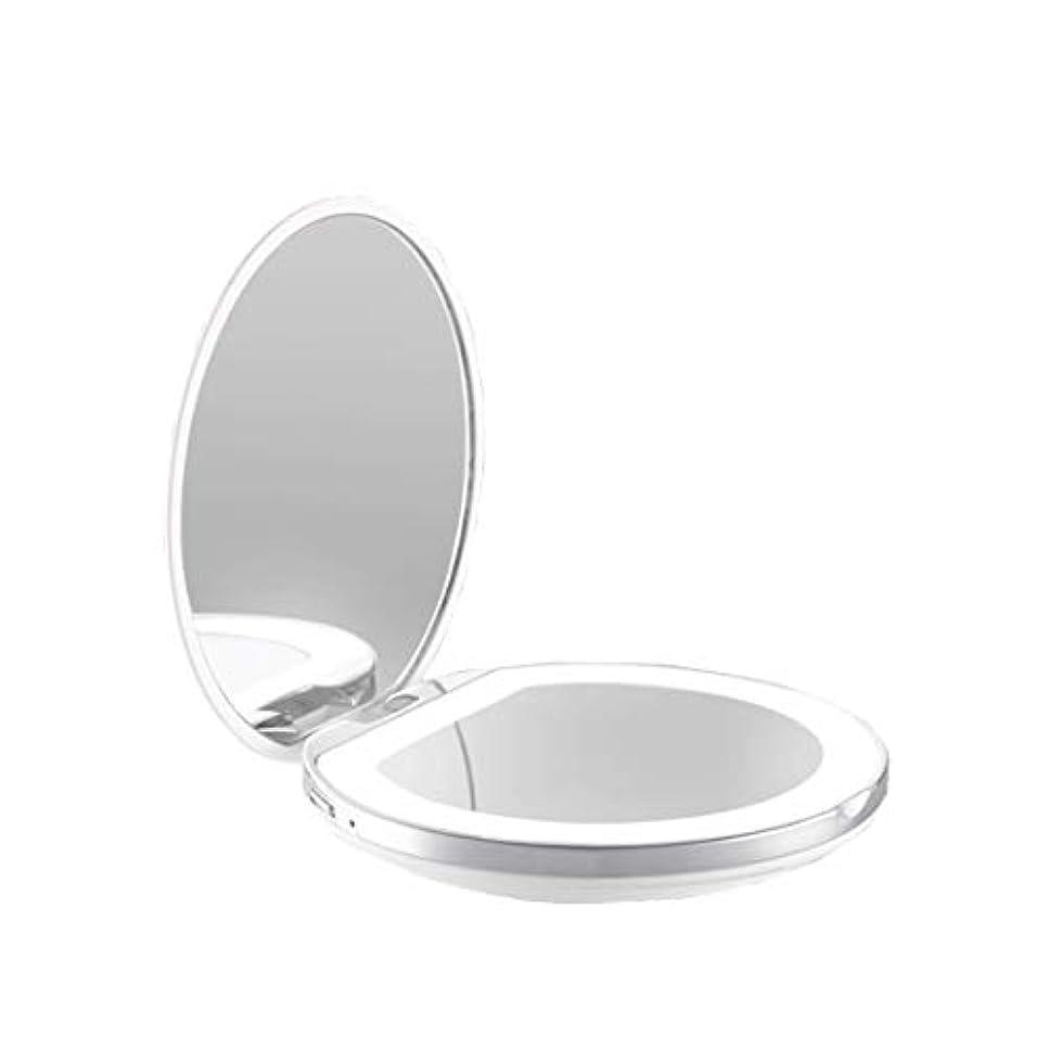刺激する政治家の単位手鏡 両面鏡 ライト付きミラー 女優ミラー 3倍拡大鏡付き お姫様 ミラー おしゃれ 卓上 LEDライト 化粧鏡 コンパクト 折り畳み式 スタンドミラー 角度調整